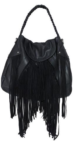 Cri de Coeur Cullen Faux Leather Fringe Handbag in Black