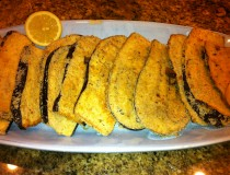 Serving Eggplant Filets with Lemon