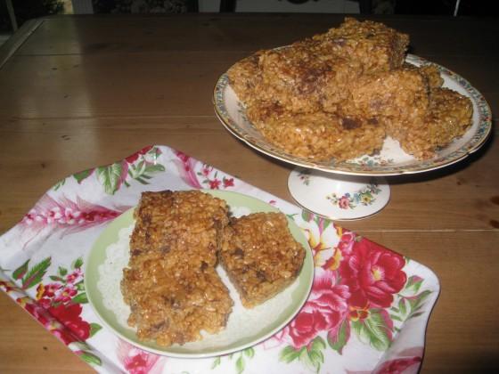 Alicia's Crispy Peanut Butter Rice Crispy Treats With Chocolate Chips
