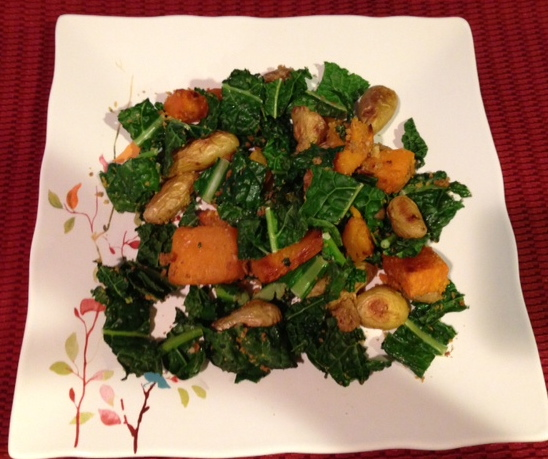 with sage butternut squash lentil kale salad with tahini dressing ...