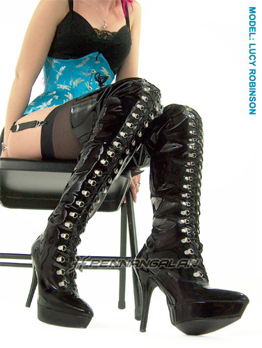Front D-Ring Thigh Boots With Platform (Vegan)