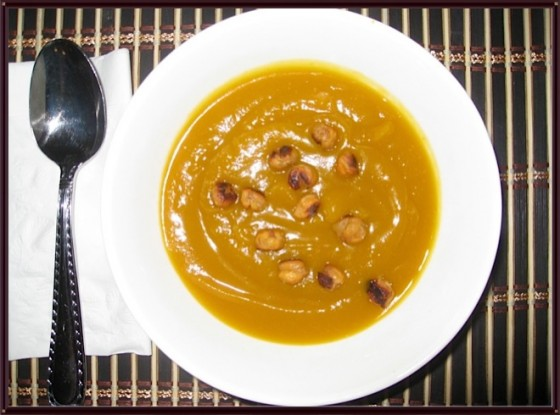 Sweet And Simple Kabocha Squash Soup With Roasted Chickpea Nuts