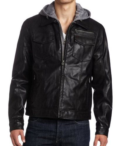 Levi's Faux Leather Trucker Hoodie (MSRP $150)