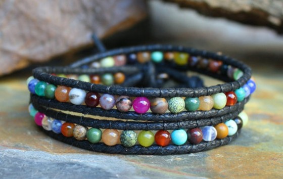 Vegan Calico Double Beaded Wrap Bracelet by Beso Del Corazon
