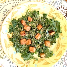 Vegan Kale Caesar with Tofu Dressing and Tofu Croutons