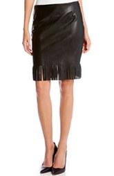 Faux Leather Pencil Skirt with Fringe by Karen Kane (V)