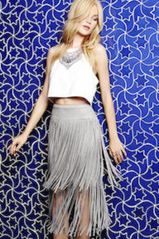 Great Plains Grey Skirt with Fringe (V)