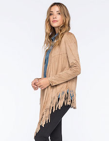 Say What Women's Faux Suede Fringed Kimono (V)