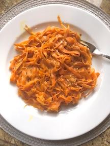 carrot ribbon pasta with peanut sauce