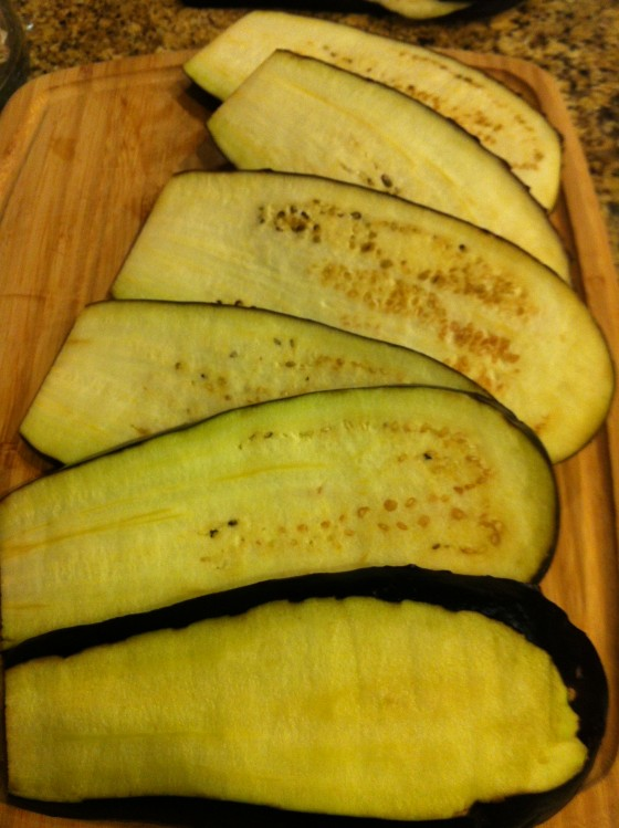 Eggplant Slices Length-wise