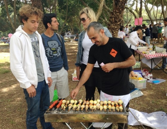 Vegan Future Grilling Vegetables at Israel's 65th Birthday Celebration in Tel Aviv (taken by Paul Goldman of NBC News)
