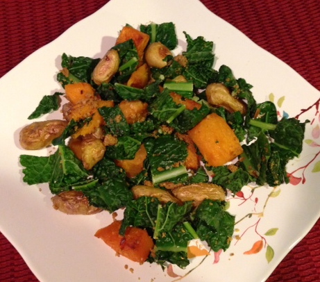 Roasted Butternut Squash, Potatoes And Kale With Pecan Parmesan