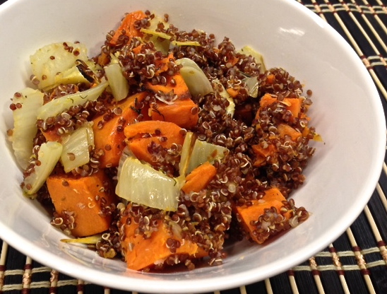 Red Quinoa Bowl With Roasted Yams & Fennel