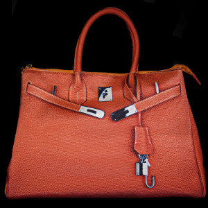 "Ginny Orange Crush Eco-Friendly and Vegan ""Birkin"" Style Bag from The Underground Chic"