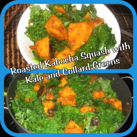 Kabocha squash with kale and collard greens vegan american princess