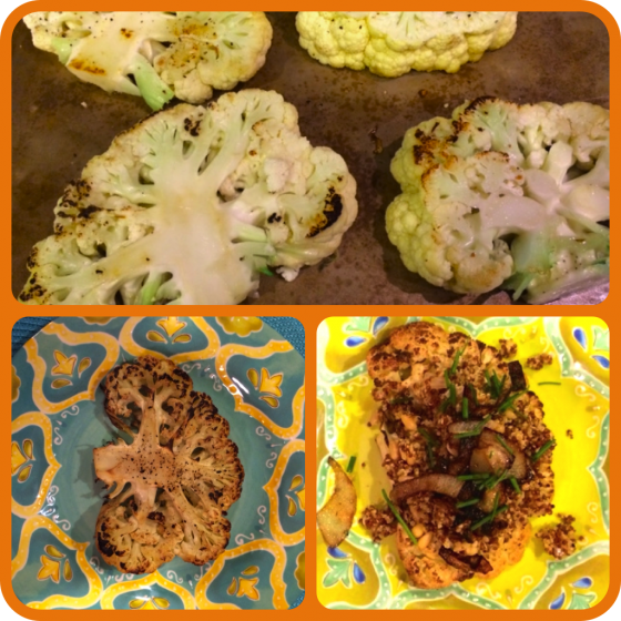 cauliflower steaks topped with quinoa vegan american princess