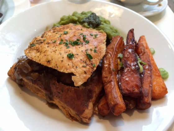 Mixed Mushroom, Porcini & Ale Pie With Mushy Peas & Fries (Mildred's, London)