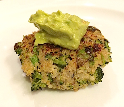 Quinoa Broccoli Cakes with Avocado Cream Topping
