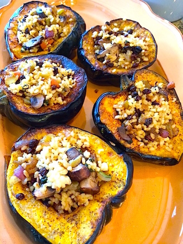 Acorn Squash stuffed with Sweet Rice, Currants and Vegetables