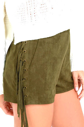 Ace of Suede Olive or Black Suede Shorts with Fringe (V)