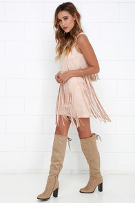 Gossip in the Grain Blush Fringe Suede Dress