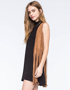 Say What Faux Suede Fringed Vest (V)